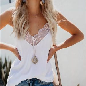 Tops - White tank cami tops casual with lace trim